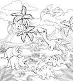 Dinosaurier-Karikatur-prähistorische Landschaftsszene lizenzfreie abbildung
