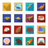 Dinosaurier och förhistoriska uppsättningsymboler i plan stil Stor samling av dinosaurier och det förhistoriska vektorsymbolmater Arkivfoto