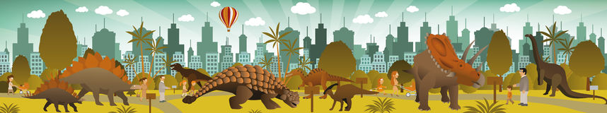 Dinosaurier parkerar Arkivbild
