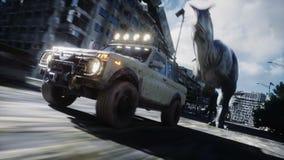Dinosaurier rex, das hinter das Auto in zerstörter Stadt läuft Dinosaurierapocalypse Konzept von Zukunft Realistische Animation 4 lizenzfreie abbildung