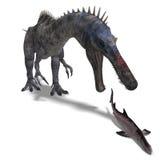 Dinosaurier Suchominus. Wiedergabe 3D mit Ausschnitt Lizenzfreies Stockbild