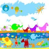 Dinosauriere und andere kleine Tiere stock abbildung