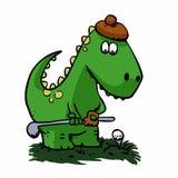 Dinosauriergolfspieler - lustiger Dinosaurier lizenzfreie abbildung