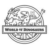 Dinosaurierikone lokalisiert Zeichentrickfilm-Figur-Entwurf lizenzfreie abbildung