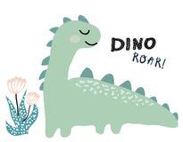 Dinosauriervektordruck in der skandinavischen Art chldish Illustration für T-Shirt, Kindermode, Gewebe lizenzfreie abbildung
