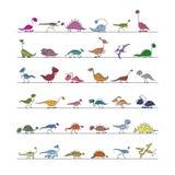 Dinosauriesamlingen, skissar för din design Royaltyfri Foto