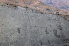 Dinosauriespår på Cal Orcko Wall - Sucre, Bolivia Arkivfoton