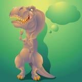 Dinosaurietyrannosarierex med textbubblan Arkivbild