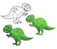Dinosaurieuppsättningkontur stock illustrationer