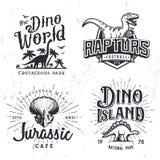 Dinosaurievektor Logo Set Begrepp för Triceratopst-skjorta illustration Mall för design för gradbeteckning för lag för rovfågelhö Arkivbild