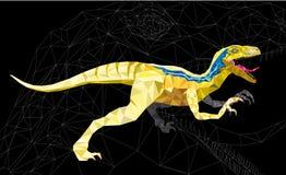 DinosaurieVelociraptor i geometrisk modellstil 10 eps Arkivfoton