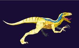 DinosaurieVelociraptor i geometrisk modellstil 10 eps Arkivbild