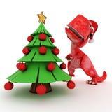 Dinosaurio amistoso de la historieta con el árbol de navidad del regalo Imagen de archivo libre de regalías