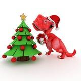 Dinosaurio amistoso de la historieta con el árbol de navidad del regalo Fotografía de archivo