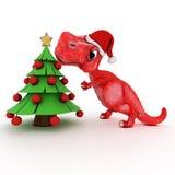 Dinosaurio amistoso de la historieta con el árbol de navidad del regalo Fotografía de archivo libre de regalías