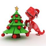 Dinosaurio amistoso de la historieta con el árbol de navidad del regalo Imágenes de archivo libres de regalías