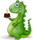 Dinosaurio con la torta de cumpleaños Fotografía de archivo libre de regalías