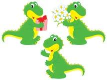 Dinosaurio con un regalo y un ramillete de flores Fotos de archivo