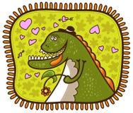 Dinosaurio con una flor stock de ilustración