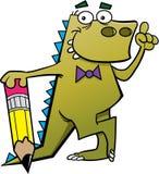 Dinosaurio de la historieta con un lápiz y una idea Foto de archivo