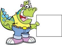 Dinosaurio de la historieta que lleva a cabo una muestra Imagen de archivo libre de regalías