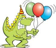 Dinosaurio de la historieta que sostiene los globos Fotos de archivo