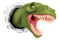 Dinosaurio de T Rex que rasga a través de una pared stock de ilustración