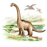 Dinosaurio del Brachiosaurus en paisaje prehistórico Ejemplo dibujado mano de la acuarela, aislado en el fondo blanco ilustración del vector