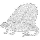 Dinosaurio del dimetrodon de Zentangle Imágenes de archivo libres de regalías