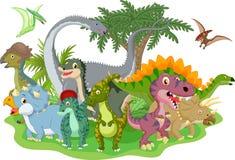 Dinosaurio del grupo de la historieta stock de ilustración