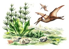 Dinosaurio del pterodáctilo en paisaje prehistórico Ejemplo dibujado mano de la acuarela aislado en el fondo blanco libre illustration