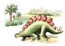 Dinosaurio del Stegosaurus en paisaje prehistórico Ejemplo dibujado mano de la acuarela, aislado en el fondo blanco stock de ilustración