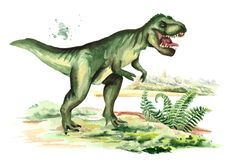 Dinosaurio del tiranosaurio en paisaje prehistórico Ejemplo dibujado mano de la acuarela, aislado en el fondo blanco libre illustration