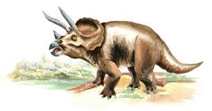 Dinosaurio del Triceratops en paisaje prehistórico Ejemplo dibujado mano de la acuarela, aislado en el fondo blanco ilustración del vector