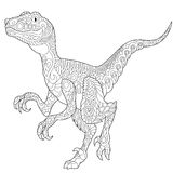 Dinosaurio del velociraptor de Zentangle Fotografía de archivo
