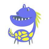 Dinosaurio divertido azul y amarillo Ejemplo animal prehistórico del vector del carácter ilustración del vector