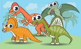 Dinosaurio divertido del estilo de la historieta ilustración del vector