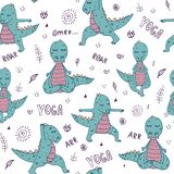 Dinosaurio en asana de la yoga stock de ilustración