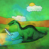Dinosaurio en el hábitat Ejemplo de Baryonyx Foto de archivo