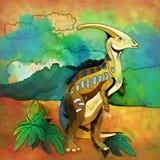 Dinosaurio en el hábitat Ejemplo de Parasauroloph Fotografía de archivo libre de regalías