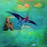 Dinosaurio en el hábitat Ejemplo de Pterosaur Fotografía de archivo
