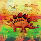 Dinosaurio en el hábitat Ejemplo de Stegosaur Fotografía de archivo libre de regalías