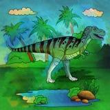 Dinosaurio en el hábitat Ejemplo del Allosaur Imágenes de archivo libres de regalías