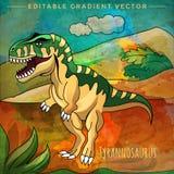 Dinosaurio en el hábitat Ejemplo del vector del Tyrannosaur Imagen de archivo libre de regalías