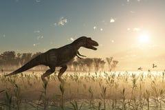 Dinosaurio en la salida del sol Fotos de archivo libres de regalías