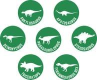 Dinosaurio etiquetado icono redondo verde oscuro determinado Fotografía de archivo