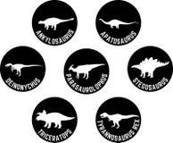 Dinosaurio etiquetado sistema redondo del icono Fotografía de archivo