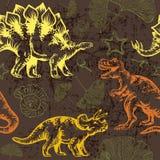 Dinosaurio jurásico Modelo inconsútil del vector Fotografía de archivo libre de regalías