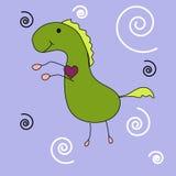 Dinosaurio lindo dibujado a pulso de la historieta del pensamiento stock de ilustración