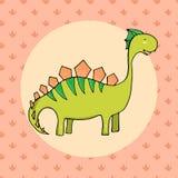 Dinosaurio lindo en estilo de la historieta con huella en fondo Fotografía de archivo